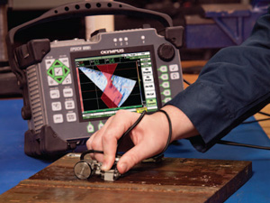 Portable EPOCH 1000 Phased Array S-scan with Weld Overlay screen