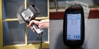 Olympus Innov-X DELTA handheld XRF analyzer testing lead paint on a window and testing a dust wipe for contamination screening.