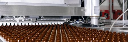 Rows of toppings for chocolate manufactured by machine, on a conveyor of a chocolate factory